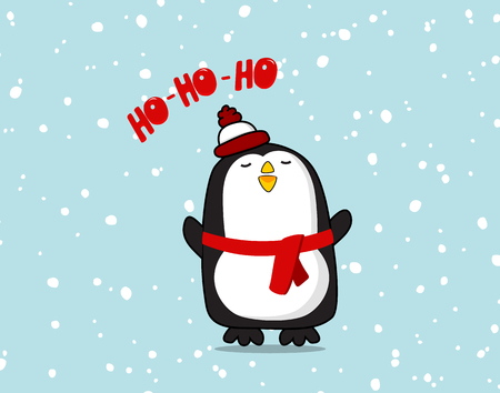 cute Pinguin character. Christmas ho ho ho poster for baby room, greeting card, kids and baby t-shirts and wear. Cool new year baby decoration, winter greeting card