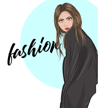 Vector young woman in coat. Fashion illustration. Stylish clothing outfit. Fashion look. Sketch. Illustration