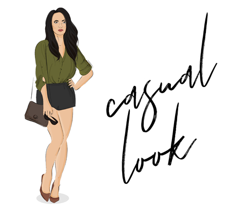 Vector street style poster. Fashion illustration young woman with long hair, wearing bluse, shorts, bag, sunglases. Business outfit. Sketch street style. Fashion collection . Magazine poster