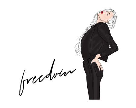 Vector fashion illustration. Glamour blonde woman with red lips in leather jacket and pants. Magazine sketch print. 2018 outfit
