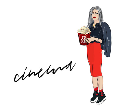 Vector lovely girl with pop corn. Fashion magazine print with woman in red skirt, leather jacket and boots holding popcorn box. Going out on movie night outfit. Weekend leisure. Illustration
