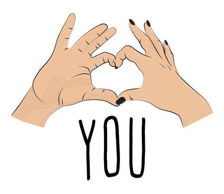 I love you romantic print. Valentines fingers heart gesture. Fingers together showing love and romance. typographic greeting card on Valentines day, wedding, date Illustration