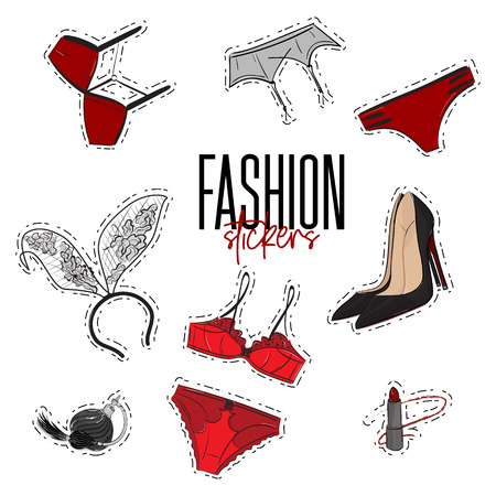 Woman trendy fashionable stickers with bra, panties, intimates, perfume, garnet, lipstick, heels and bunny ears. Valentine Day new collection. Night games stuff. Lingery set decoration. Intimates pin