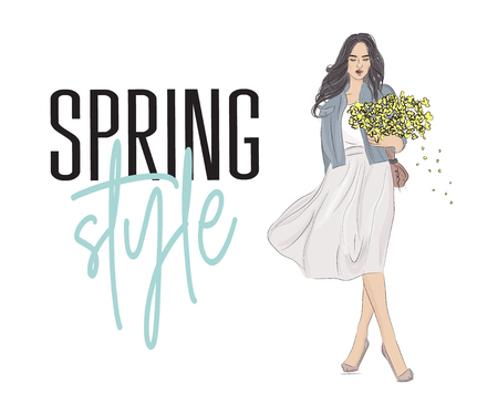 Stylish girl with grey hair in fashion clothes with flowers in hands. Hand drawn beautiful girl in fluffy skirt, jeans jacket and blouse. Fashion woman spring style poster. Sketch vector.