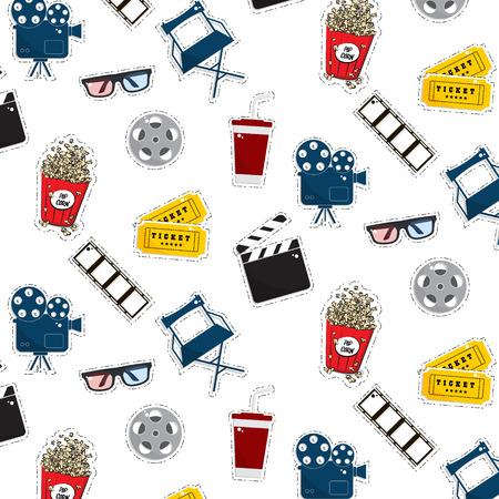 Vector flat cinema stickers pattern movie, cameras, tickets, popcorn, glasses, chair, filmstrip. Tv symbol illustration texture. Modern graphic design. Film production outline set.