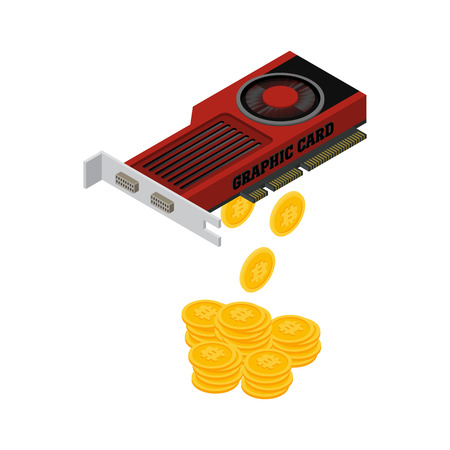 Vector illustration isometric computer graphic card on white background