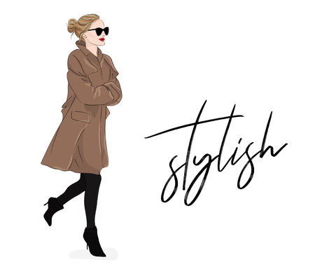 Girl in beige coat and sunglasses, in spring autumn model drawing poster. Magazine stylish look with cute elegant business outfit.