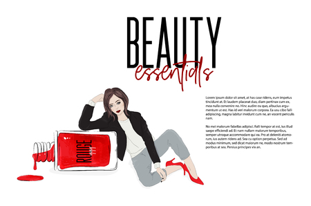 Fashion girl sitting near nail polish bottle, Beautiful woman in sexy red high heels, leather jacket. Stock Illustratie