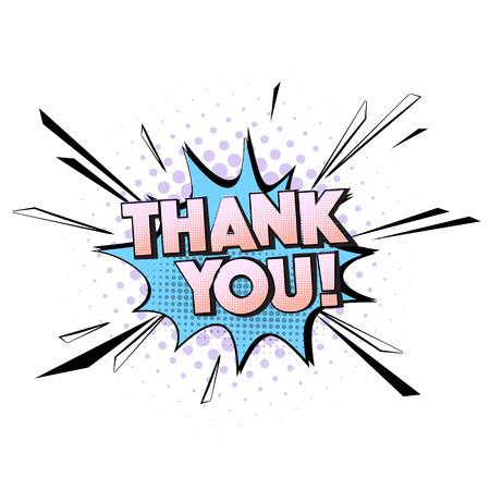 Dziękuję cytat wektor pop-artu. Typografia z życzeniami. Dekoracyjny komiks pastelowy niebieski fiolet mowy.