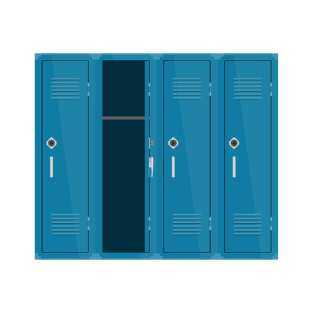 Blue metal cabinets. Vector illustration