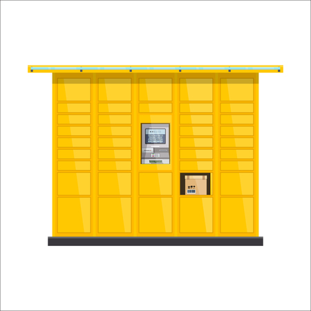Vector post automat illustration. Postomat branded self-service boxes. Modern technology delivery service machine. Automation service software office.