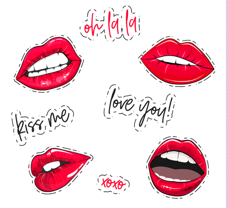 Vector lips stickers. Fashion glamour pink sexy lips labels. Beautiful set with oh la la tag, kiss me quote, xoxo text, love you sign. Woman mouth trendy elements