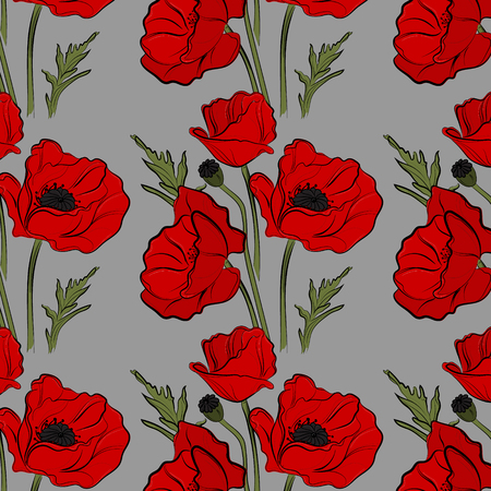 Nature floral poppy pattern vector image. Red petal nature plants isolated on blue background. Botany spring summer blossom decoration