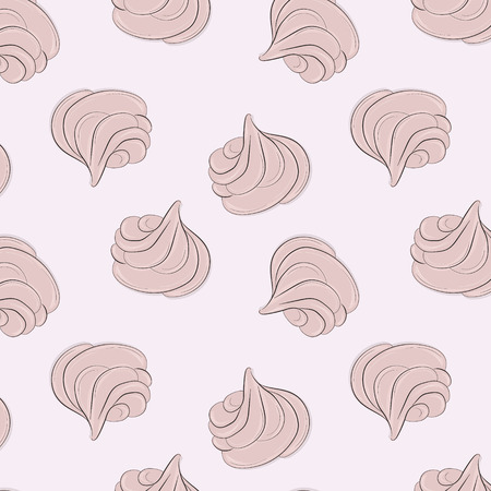 Meringues sweet pattern. Creamy delicious marshmallow sugar texture. Bakery decoration. Delicious dessert print. Cute girly food sweets Illusztráció