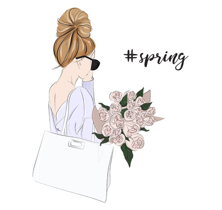 Vector fashion glamour illustration of girl holding bouquet of flowers. Tender woman with roses spring portrait. Beautiful floral lifestyle card. Positive mood young model in sunglasses and sweater Illustration