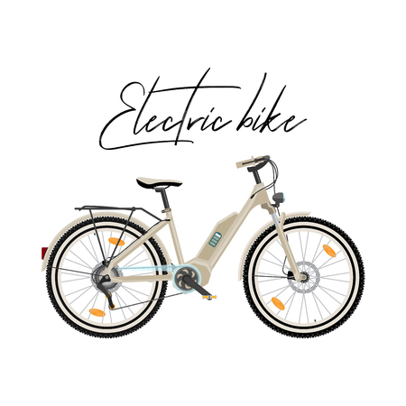 Electric city bike vector illustration isolated on white background Illusztráció