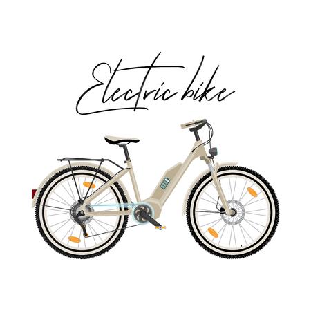Electric city bike vector illustration isolated on white background Stock Illustratie