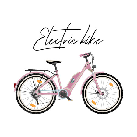 Pink electric city bike vector illustration isolated on white background