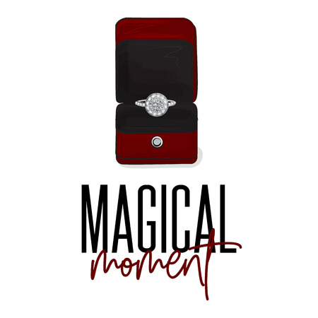 Romantic sign luxury engagement ring with diamonds. Brilliant jewerly illustration. Wedding sign in vector. Marry metal designer platinum jewel. Precious adornment. Eternity love symbol. 일러스트