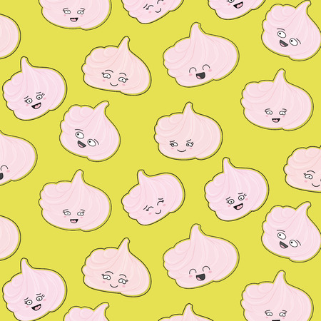 Meringues sweet pattern. Creamy delicious cute marshmallow character sugar texture. Bakery funny  decoration. Delicious kawaii dessert print. Cute girly food sweets. Illustration