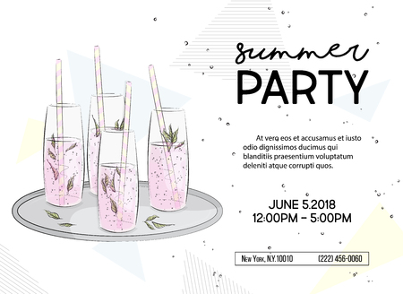 Summer time party invitation vector illustration