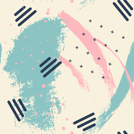 Abstract vector creative green pink pattern with brush stroke. Colorful pastel yellow background for printing brochure, poster, card, print, textile,magazines, sport wear. Modern trendy design.