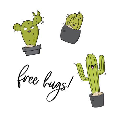 Vector happy cactus print. Cool kids design with succulents stickers. Free hugs cacti decoration pin. cute doodle cartoon illustration. Funny hugs texture Foto de archivo