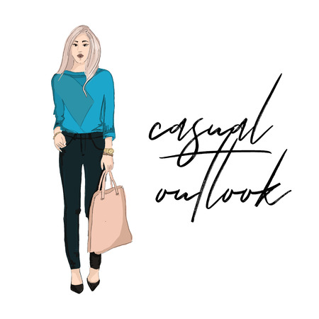 Young woman in blue bloude and pants holding purse illustration. Fashoin outlook. Business girl casual offise style.  street style glamour runaway. Magazine fashion print card