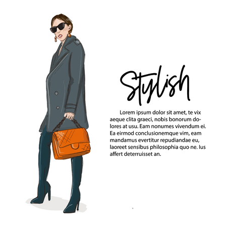 Young woman in grey coat and over knee boots with orange handbag illustration. Fashoin business outlook. Stylish girl casual offise style. Street style glamour runaway. Magazine fashion print card