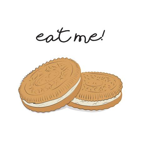 Illustration de cookie brun. Fond de vecteur de nourriture. Fond de biscuit Gâteaux de miettes traditionnels faits maison. Affiche de café Vecteurs