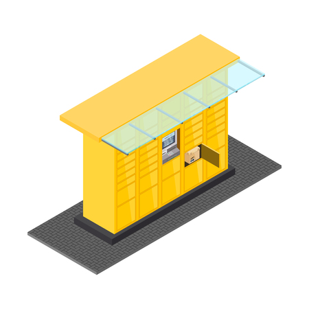 Vector isometric post automat illustration. Postomat branded self-service boxes. Modern technology delivery service machine.