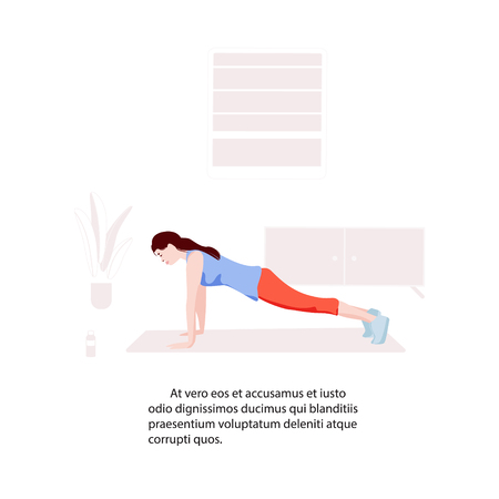 Woman making plank at home flat illustration. Active sport training practice. Girl fitness activity. Complex core care in room interior. energy warm up excersice