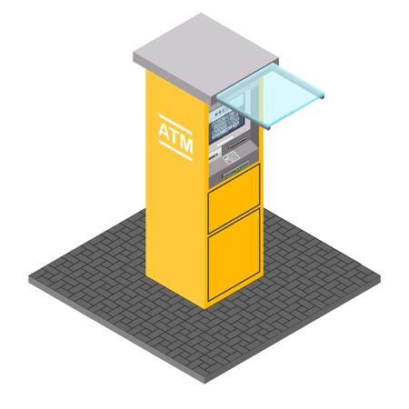 Vector de cajeros automáticos en estilo isométrico. Ilustración de terminal bancaria