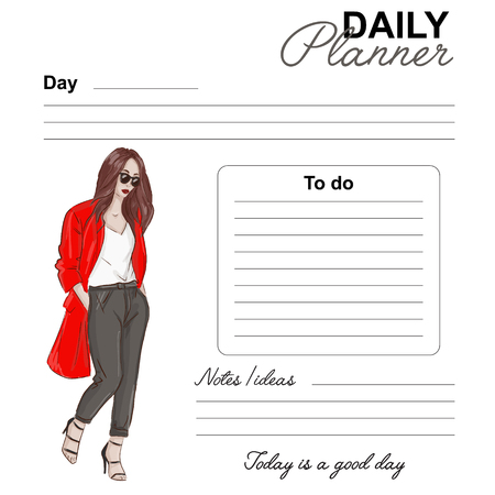 Daily planner fashion design. Date day list vector page. Daily template with woman watercolor drawing. Fashion template graphics with street style look: pants, coat, heels
