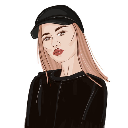 Sport look fashion woman illustration. Swag stylish beauty portrait. Runaway girl trendy sketch. Stylish magazine young person poster