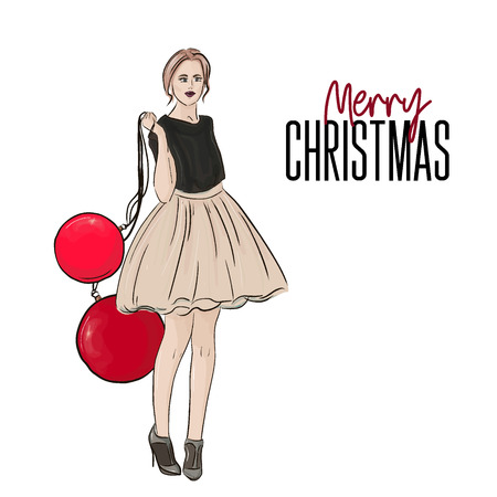 Vector holiday Christmas fashion illustration. New year style poster with glamour woman in fluffy dress and heels with huge decoration balls sketch. Vettoriali