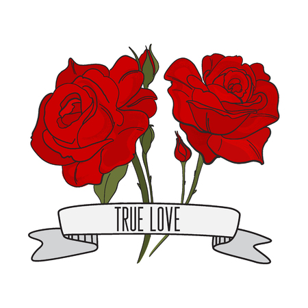 Vector text True love with red roses print. Tattoo typography slogan with flower illustration. T-shirt print, fashion natural fabric