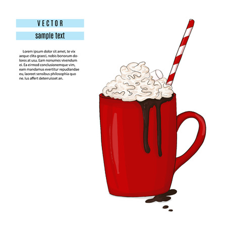 Hot chocolate drink illustration. Breakfast red cup with cocoa and marshmallow print. Sweet winter cozy mug with tube. Rustic flavor cinamon, anise clip art Illustration
