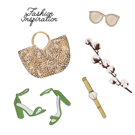 Simple accessories flatlay: bag, sunglasses, shoes, plant vector sketch. Glamour fashionable magazine illustration. Trendy wicker beach, city purse with other decoration elements. Women objects