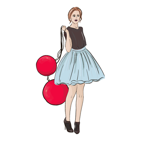 Vector holiday Christmas fashion illustration. New year style poster with glamour woman in fluffy dress and heels with huge decoration balls sketch. Glamour Model print. Trendy character decoration