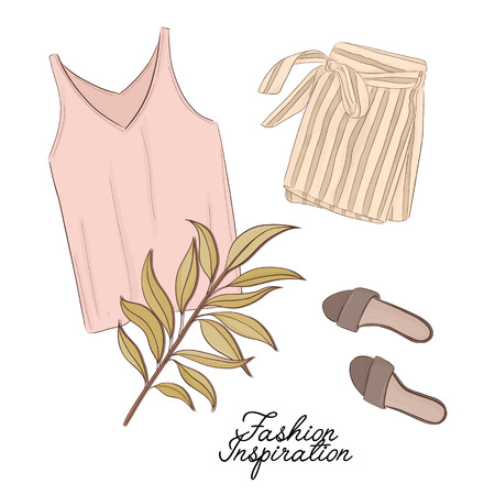 Girls outlook: shorts, shoes and top in pastel colors, decorated with palm leave. Trendy fashion illustration. Magazine article flatlay  print of modern apparel. Business watercolor art
