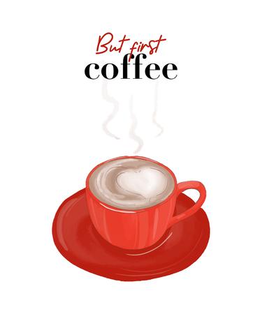 """Croquis vectoriel """"Mais premier café"""" adapté comme affiche"""