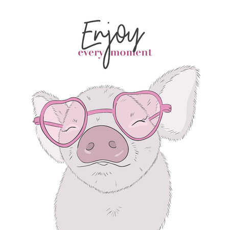 Cute pig with Enjoy every moment quote. Happy life funny piglet drawing. Animal cartoon character illustration