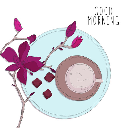 Morning coffee with flowers vector sketch.  Cup with sweets, cafe illustration. Floral botanical print. Ilustrace