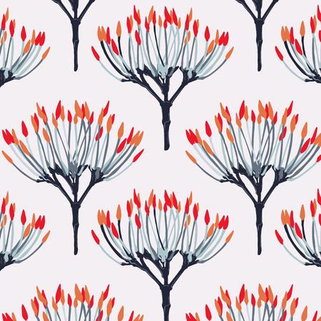 Seamless pattern red orange blue flowers pattern.  Fabric floral card template design. Contrast orange red creative print.