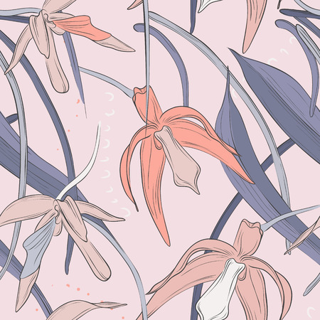 Tropical orchid palm leaves jungle background vector pattern beach illustration. Orange pink summer decoratio