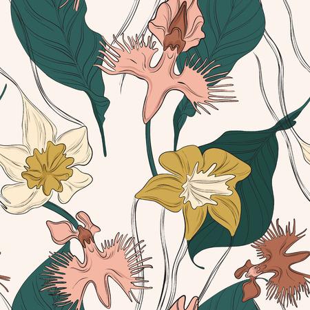 Orchid flower decoration. Nature blossom floral pattern. Romantic garden bloom fabric print. Bouquet pretty summer petal repetition texture. Home Interior  design. Foto de archivo - 121896210