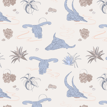 Boho style illustration with animal skulls and desert plants. Succulents on the sands and bones nature tribal pattern, Bohemian vintage ethnic decoration in pastel color Çizim
