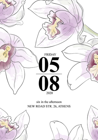 Beautiful orchids invittion card. Vector watercolor flowers with text greeting card. Beauty bouquet garden flowers. Spring Blossom illustration