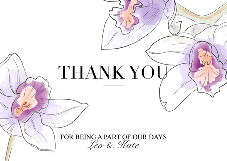 Vector Thank you card. Beuatiful orchids in violet orange colors with text. Hand drawn watecolor illustration. Modern invitation, stationery card